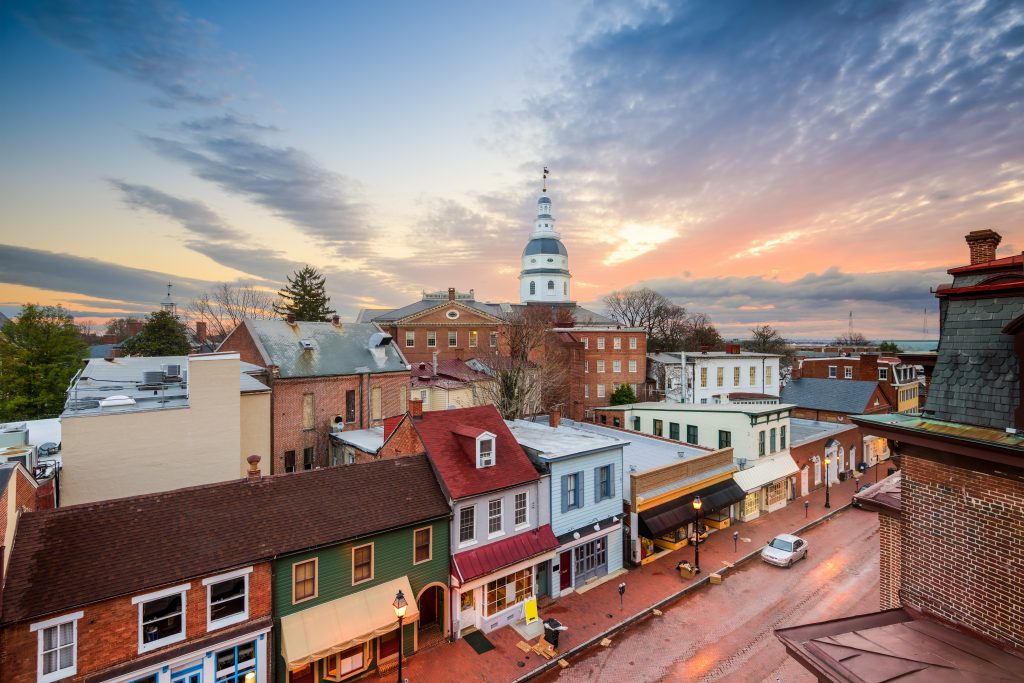 Annapolis, Maryland, USA downtown view over Main Street with the State House.